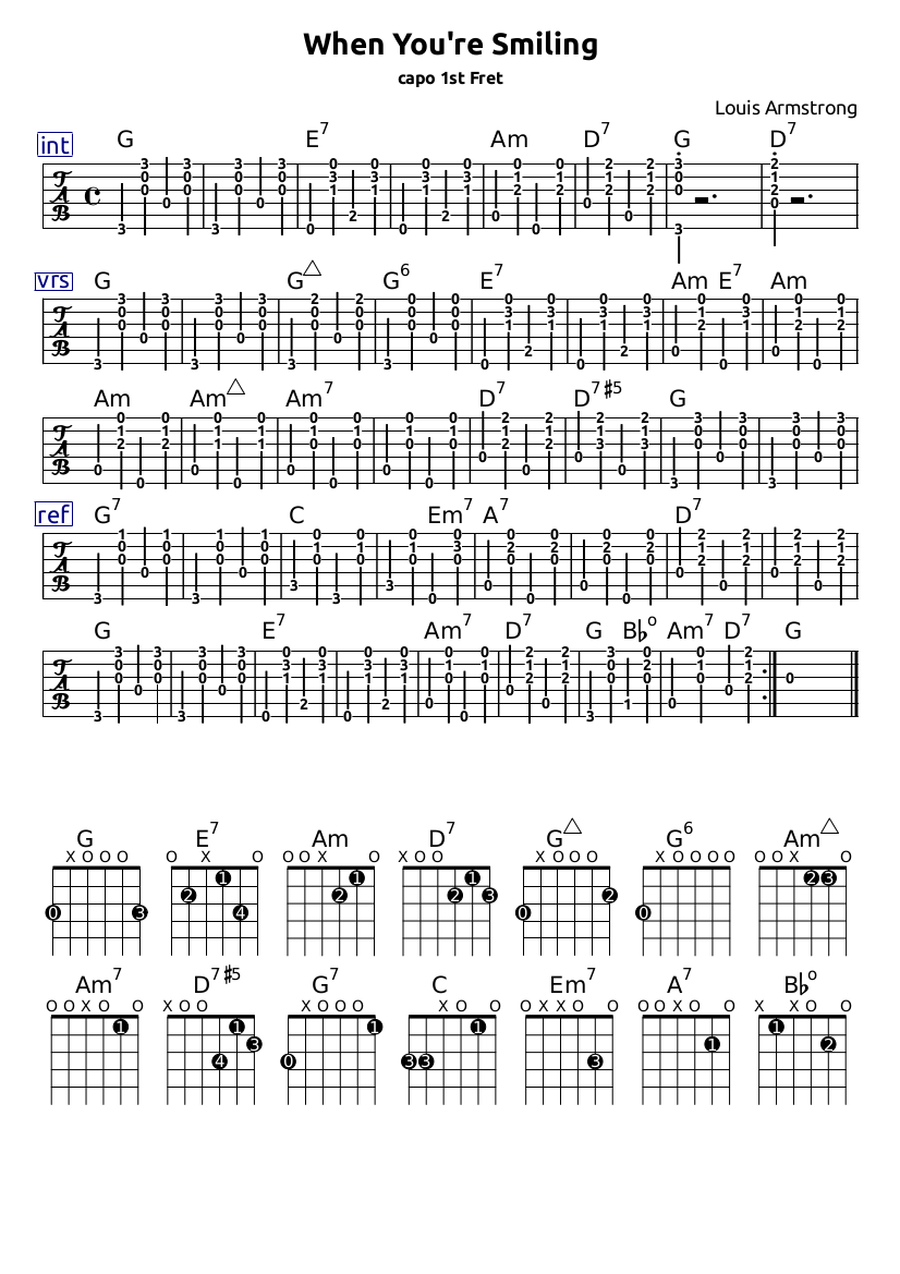 When Youre Smiling Chords Guitar Tabs Guitar Notations And Tabs
