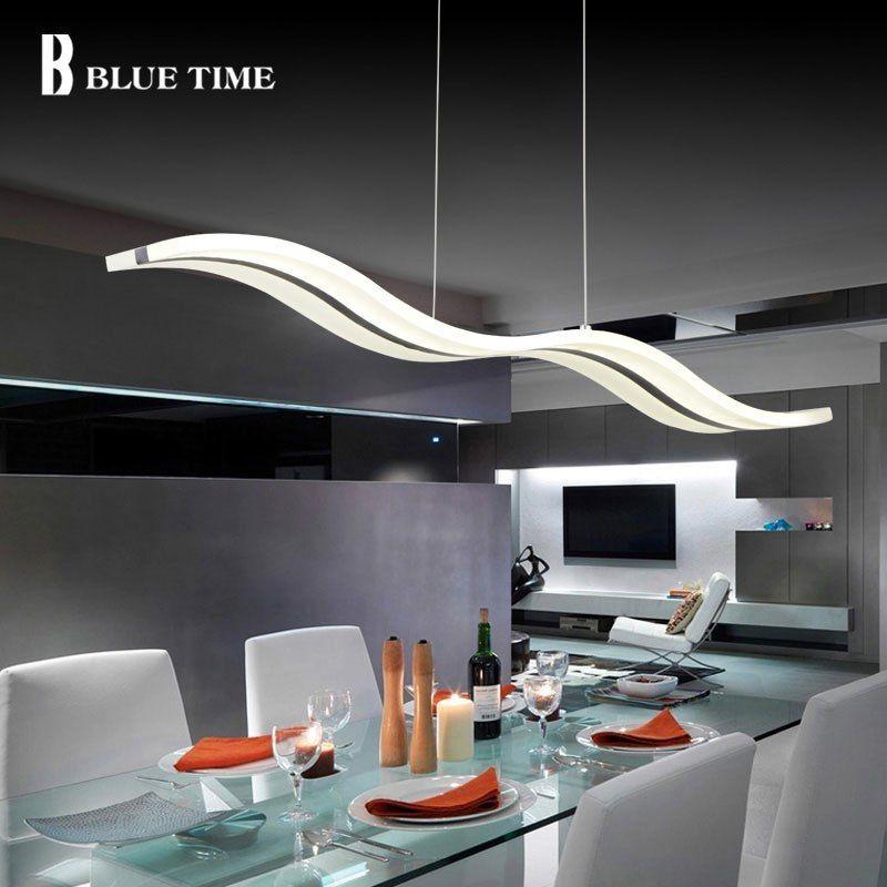 Barato Azul Tiempo Moderno Colgante Luces Para Comedor De Acrilico Blanco Led Lampara Colgan Chandelier In Living Room Dining Room Pendant Living Room Lighting