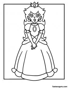 free printable super mario bros princess peach coloring page