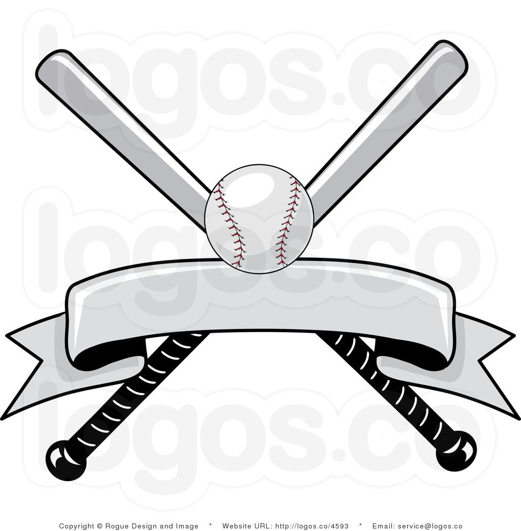 Royalty Free Baseball Bat and Ball with Blank Banner Logo ...
