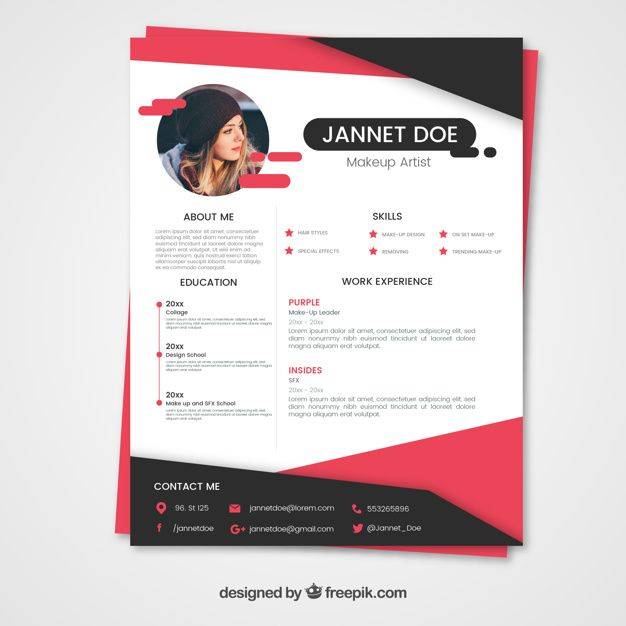 pink and black resume template free vector
