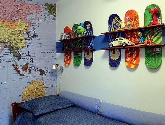 Skateboard Bedroom mommo design: recycling ideas - skateboard shelves | kids
