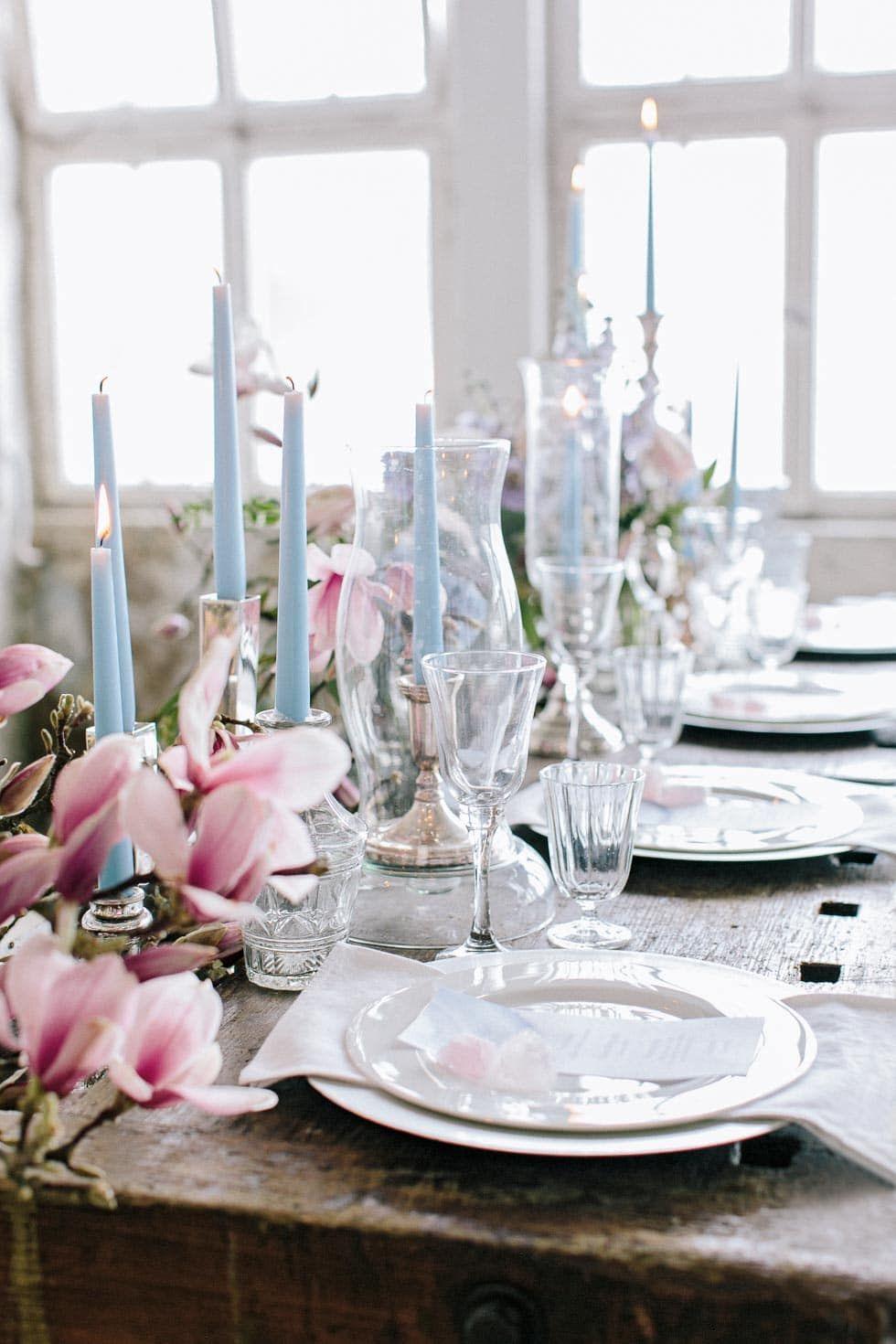 Hochzeitsideen Pudertone Magnolien Achat Kristalle Hochzeit