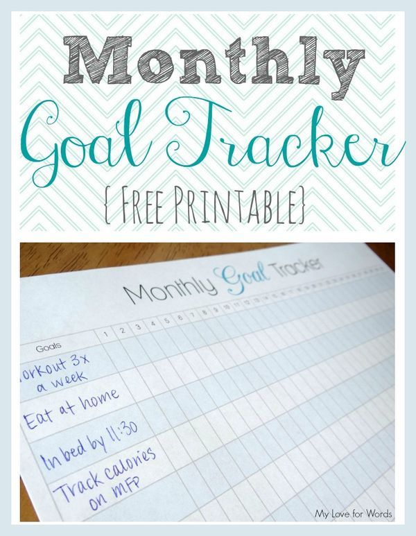 Playful image throughout goal tracker printable