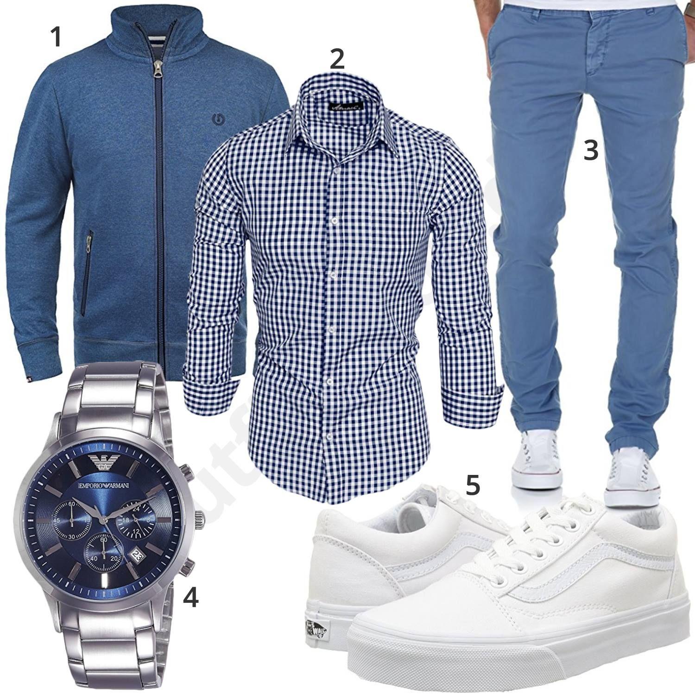 be41d6425222 Blau-Weißer Style mit Hemd, Chino und Vans  hemd  chino  armani
