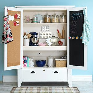 An Armoire Turned Baking Cabinet. Cool Idea For Chalkboard And Cork Board.
