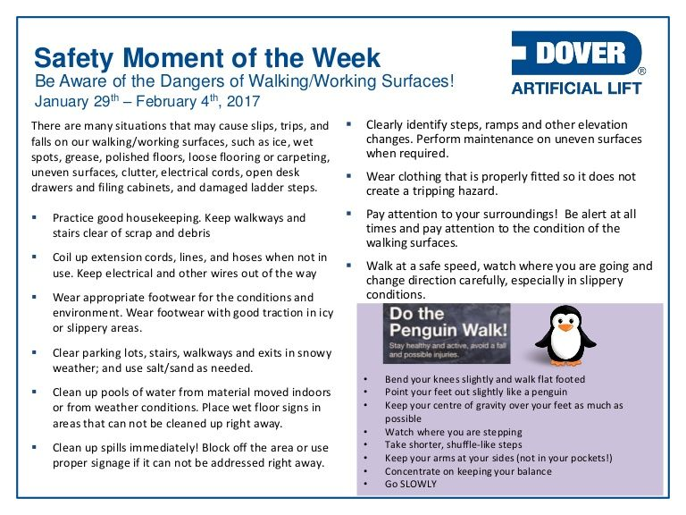 Be Aware of the Dangers of Walking/Working Surfaces