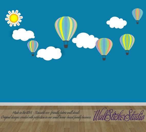 Hot Air Balloons Decal Reusable Non Toxic Eco Friendly Fabric Wall Decal Stickers Fabric Wall Decals Wall Decal Sticker Wall Decals