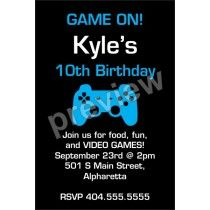 Game On Video Game Birthday Party Invitation Template Printable