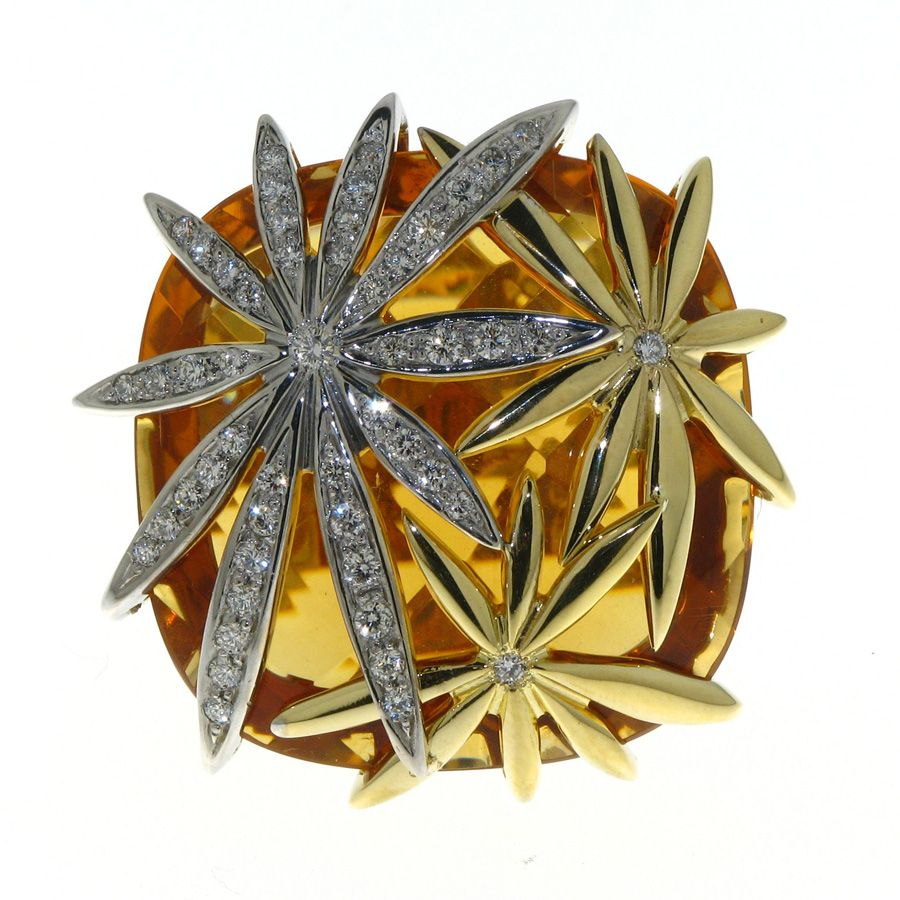18k white and yellow gold diamond .42 carat weight (total) fancy citrine 20. carat weight (total) leaf ring