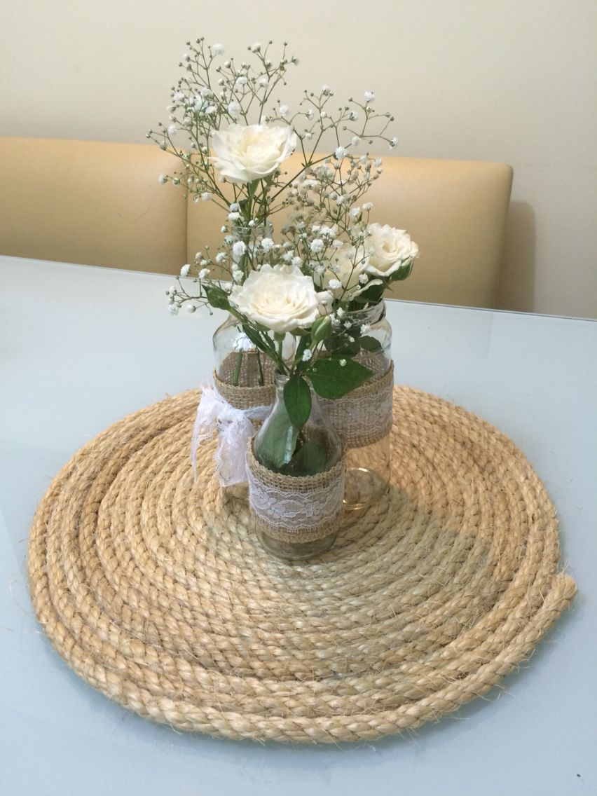 Centro de mesa casamento com garrafas e corda sisal - Centro de mesa rustico ...