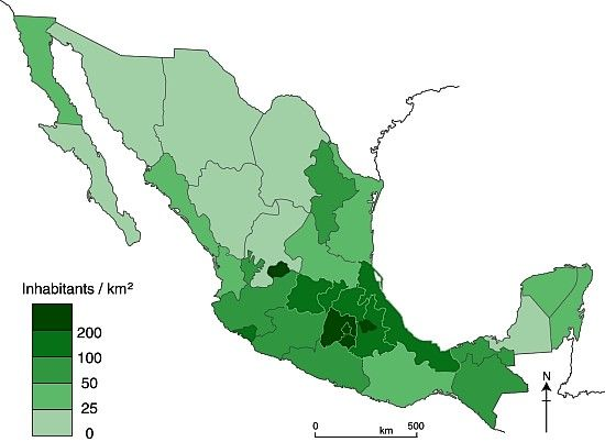 Mexico population density Maps Pinterest