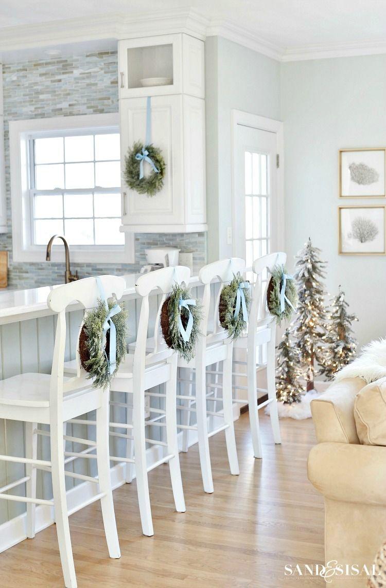 Coastal White Christmas Family Room | Family room walls, Coastal ...