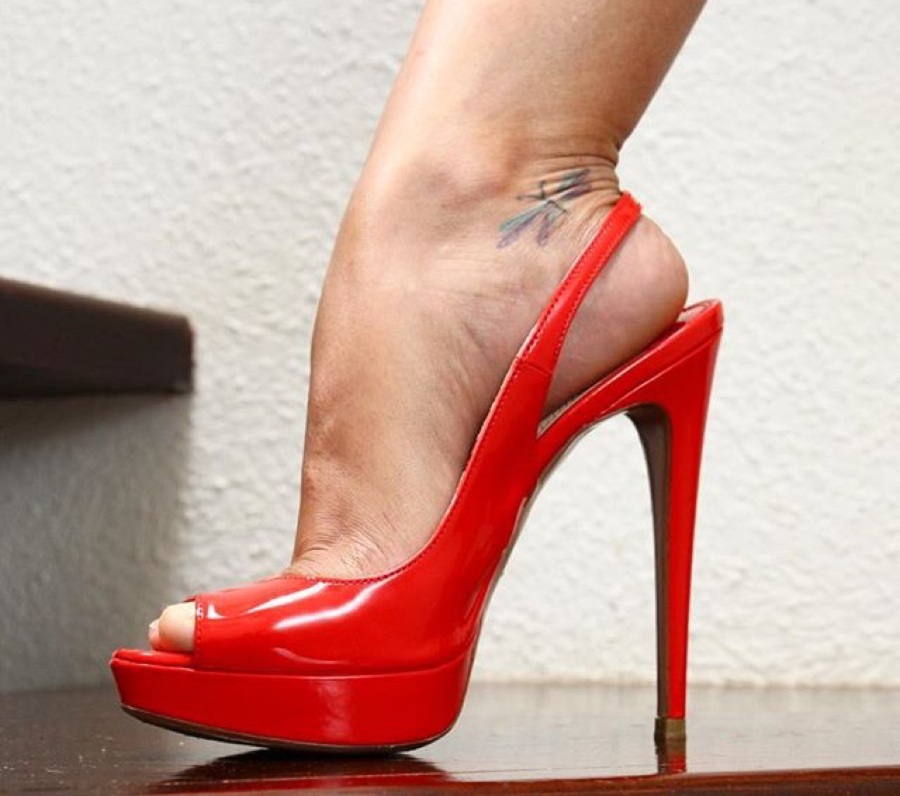 Red Slingback High Heels