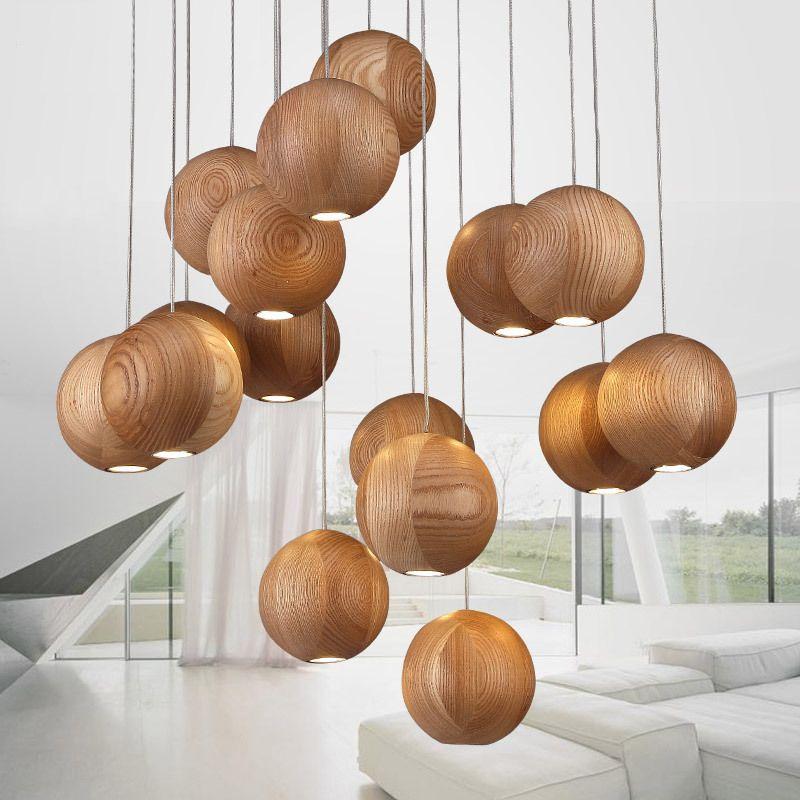 Moderne Lustre Nordic Massif Créative Japonais En Bois Chinois 2HWE9ID