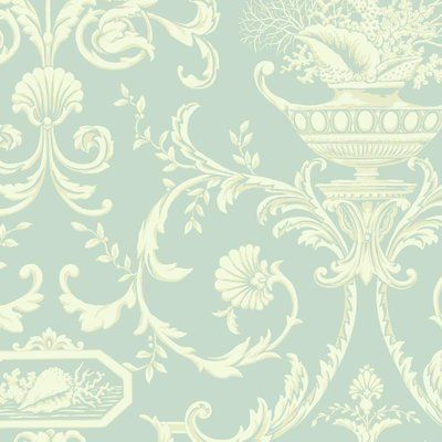 "York Wallcoverings Casabella II Neoclassic Shells 27' x 27"" Floral and Botanical Wallpaper Color: Aqua, Rich Cream, Beige"