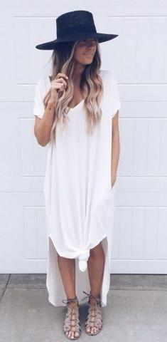 b33b3282ba6d maxi t-shirt dress. hat. gladiator sandals. summer style.   sʈყlє ...