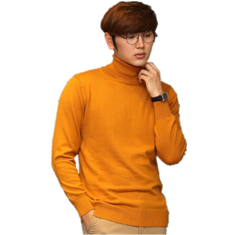 Pure Color Cashmere Turtleneck Men's Sweaters High Collar Male ...