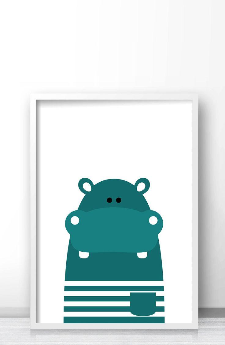 Hippo Nursery Art Instant Printable And Kids Room Wall Animal Print