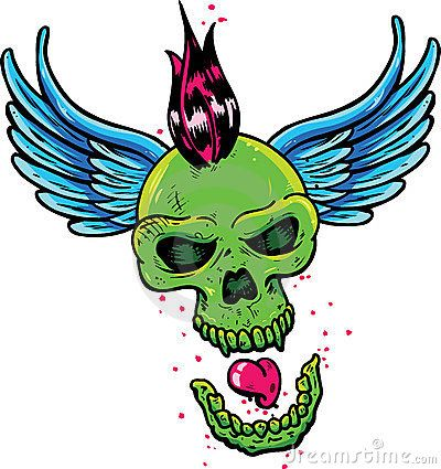 Punk tattoo style skull with wings vector illustration. Fully editable