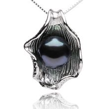 FEIGE Shell-shaped Pearl Pendant Necklaces For Women 9-10mm Black Freshwater Pearl Jewelry 100% 925 Sterling Silver Chain(China (Mainland))