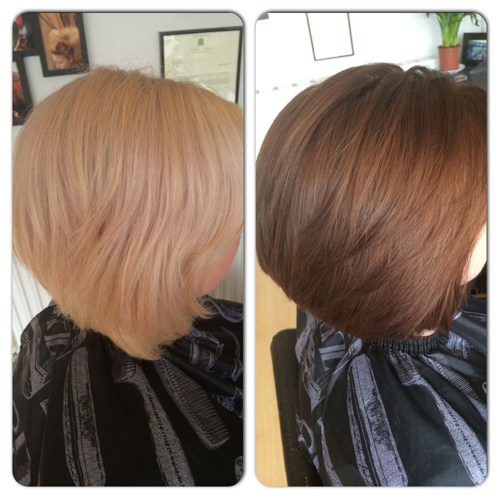 Colour Correction Hair Bleach Blonde To Warm Mahogany Brown New