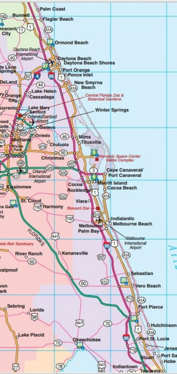 Central East Florida road map showing main towns cities and