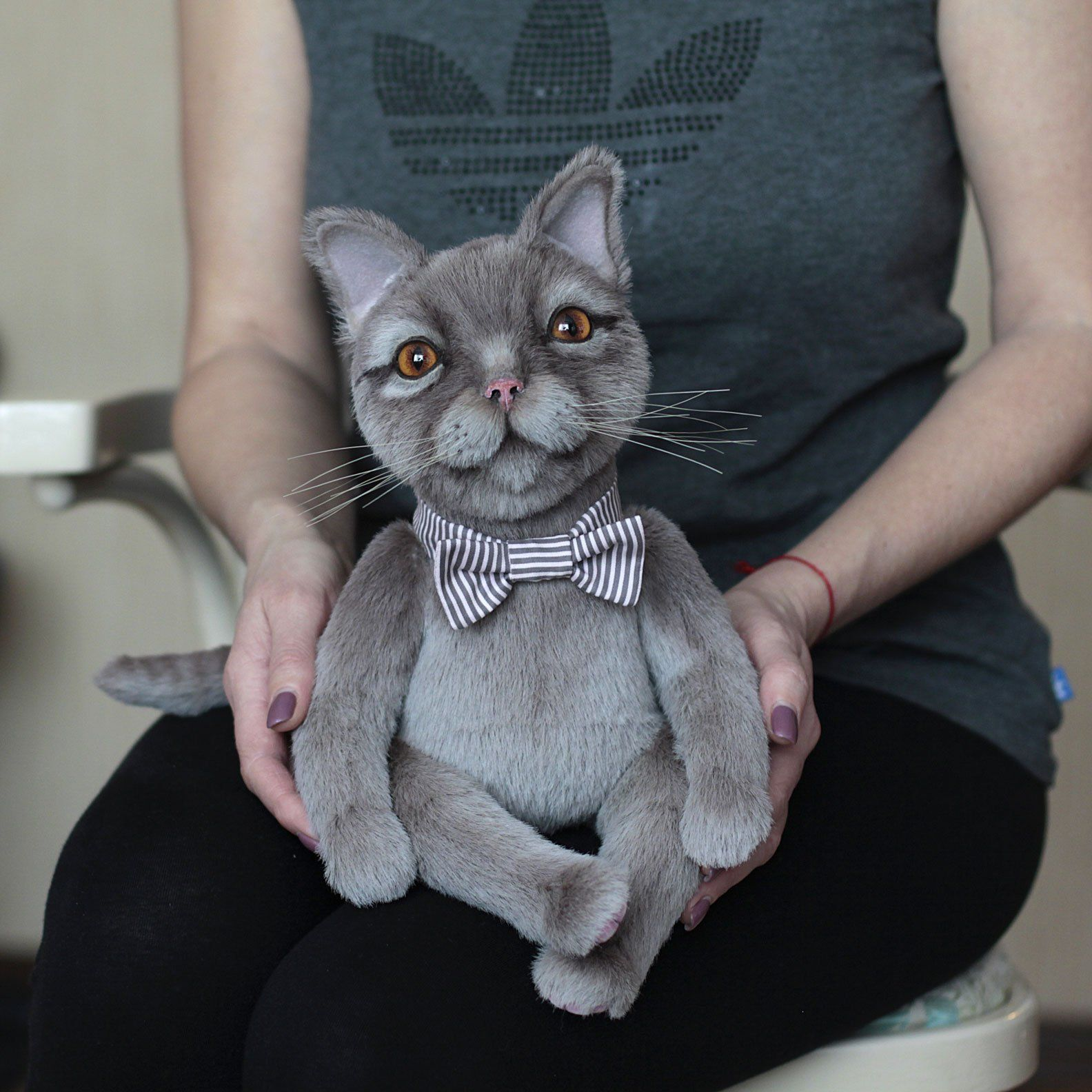 British Gray Cat Collectible Bear Stuffed Toy Cute Cat Realistic Teddy Bear Artist Teddy Cat Soft Sculpture Favorite Cat Mom Gifts Grey Cat Names Grey Cats
