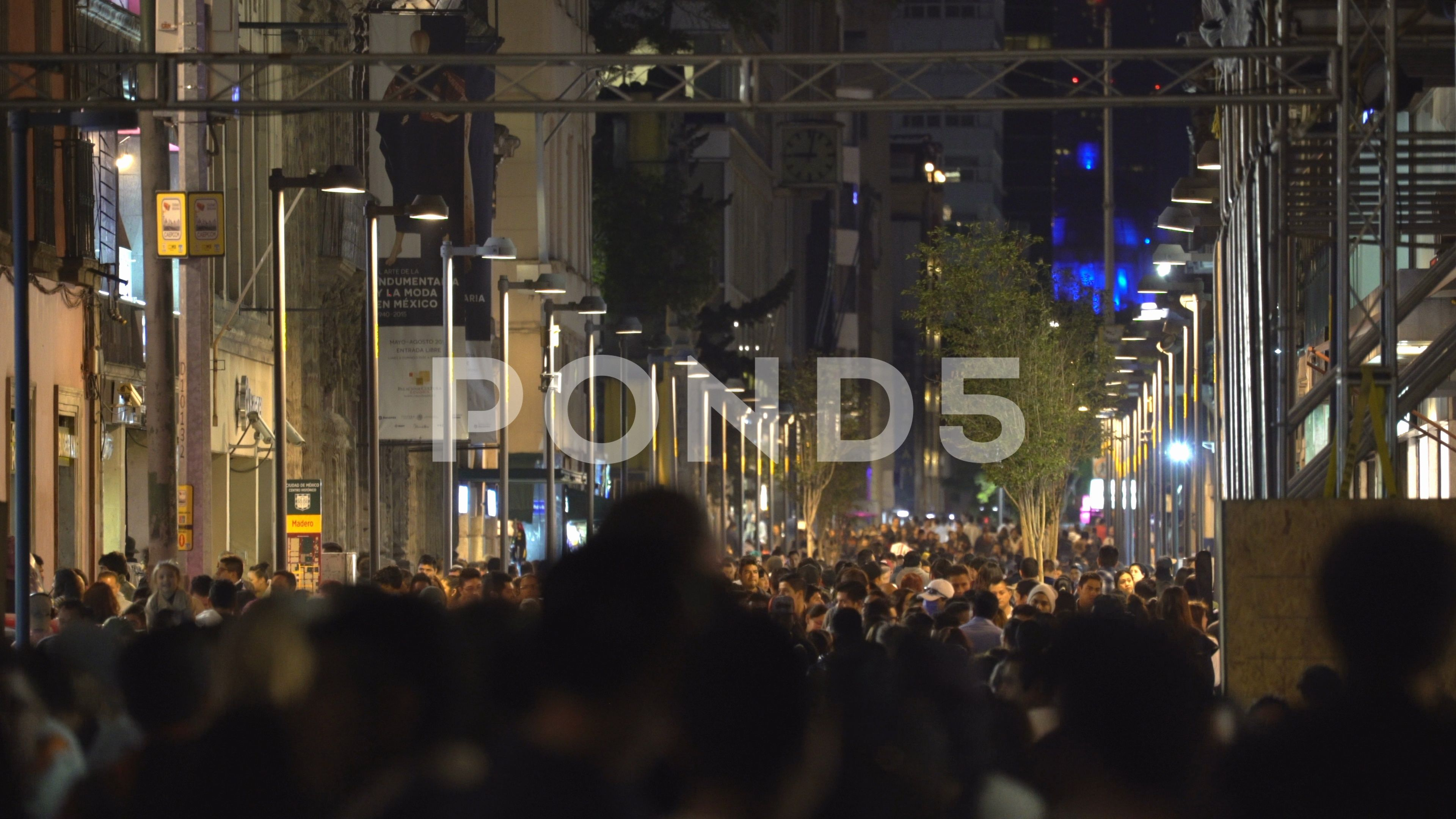 Mexico City Downtown Crowd Of People Walking On Street At Night Stock Footage Crowd People Downtown Mexico Downtown Mexico City Walking Street