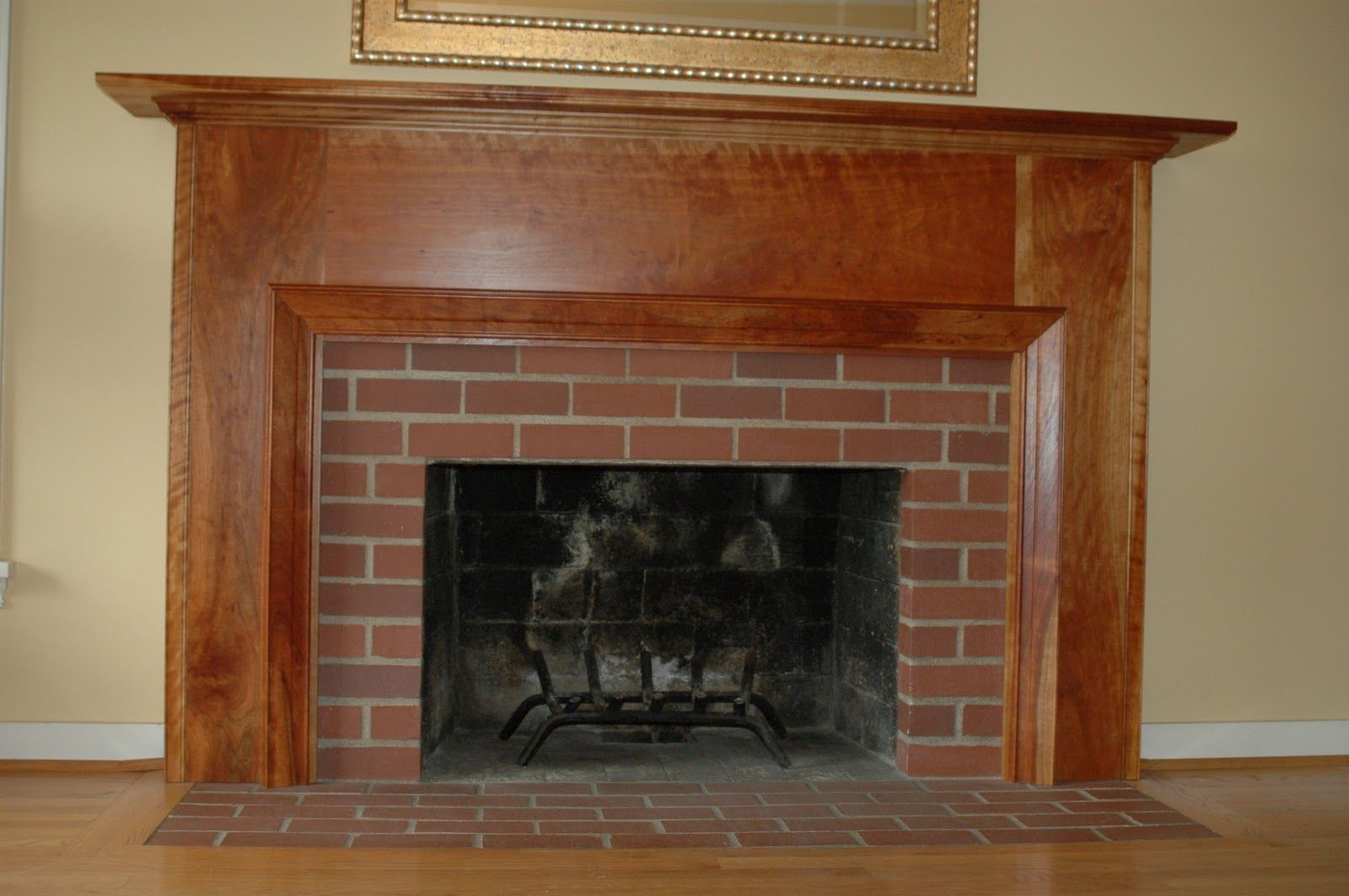 Cool Darkslategray Decorating Brick Walls Fancy Traditional Fireplace Mantel Design Space Wooden Varnished Shelves Natural Wall Beige Painting Designs