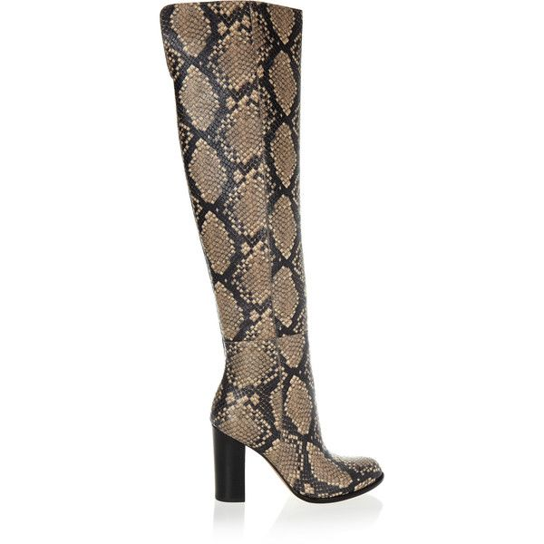 ffa3f90468e0 Sam Edelman - Rylan Snake-effect Leather Over-the-knee Boots ( 125) ❤ liked  on Polyvore featuring shoes