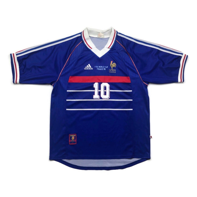 France 1998 World Cup Home Football Shirt Zidane 10 Vintage Football Jerseys In 2020 Football Shirts Football 1998 World Cup