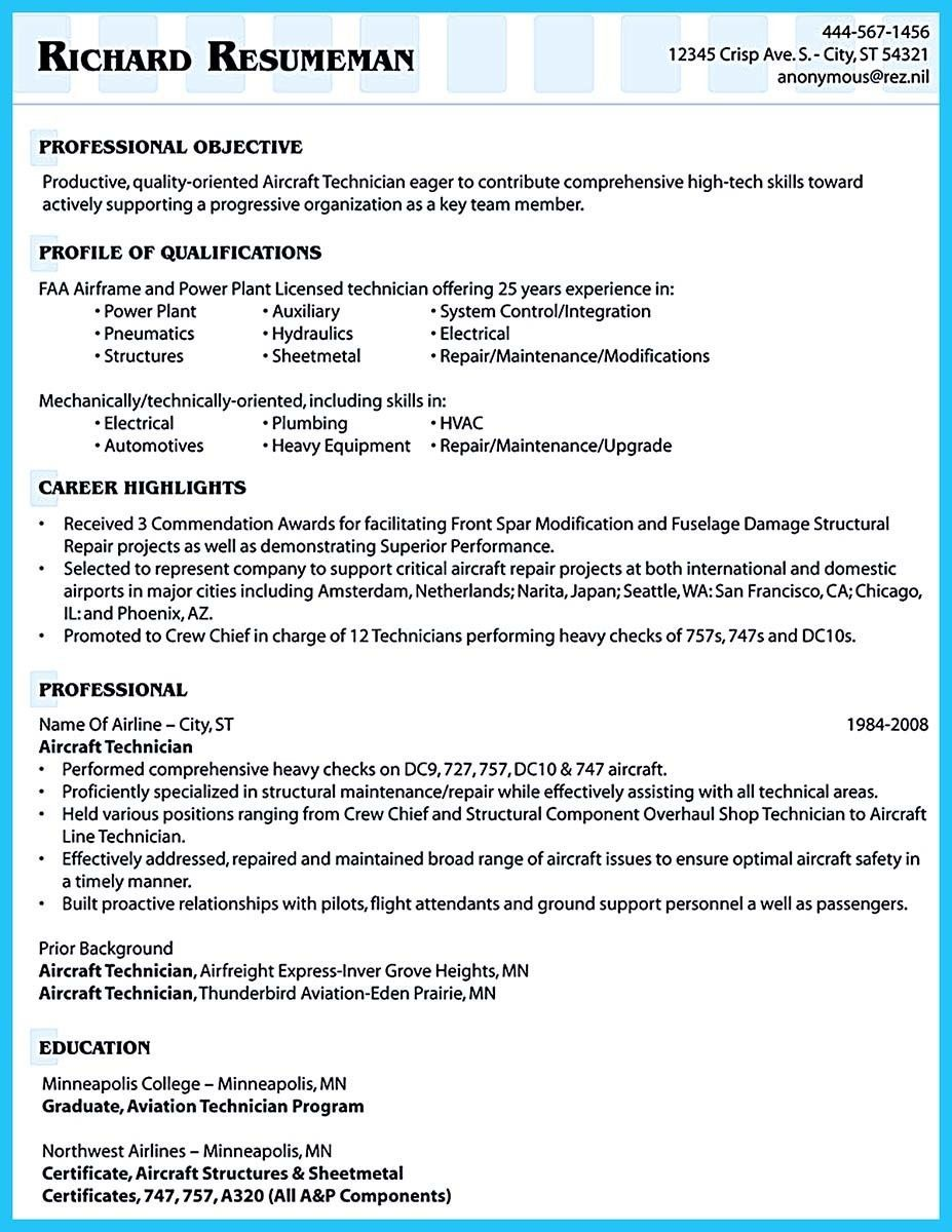 cool convincing design and layout for aircraft mechanic resume httpsnefci