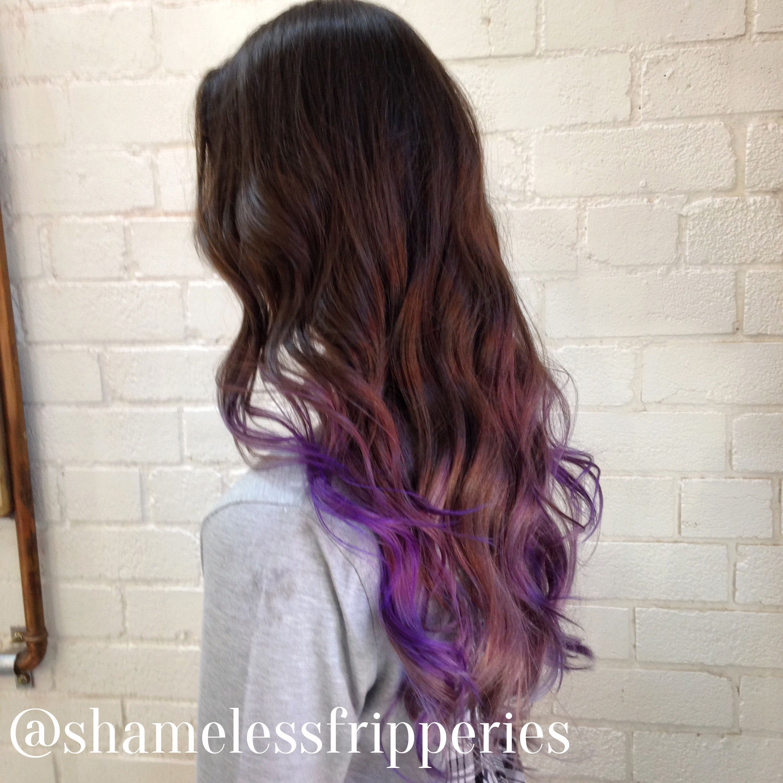 YAS! Purple/silver tips on brunette hair.   Haiiirrr   Hair ...