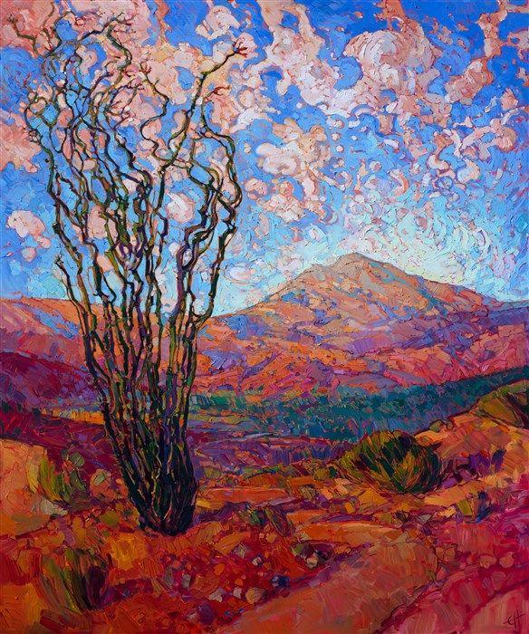 Dramatic Landscape Oil Painting By Modern Expressionist Painter Erin Hanson Desert Landscape Painting Fine Art Prints Artists Landscape Paintings