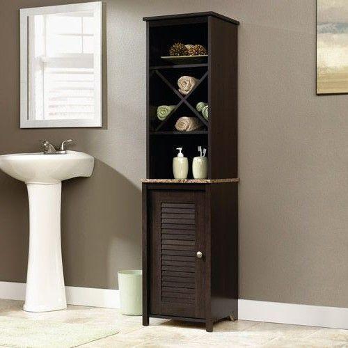 Linen Tower Cabinet For Bathroom Storage Organizer Open