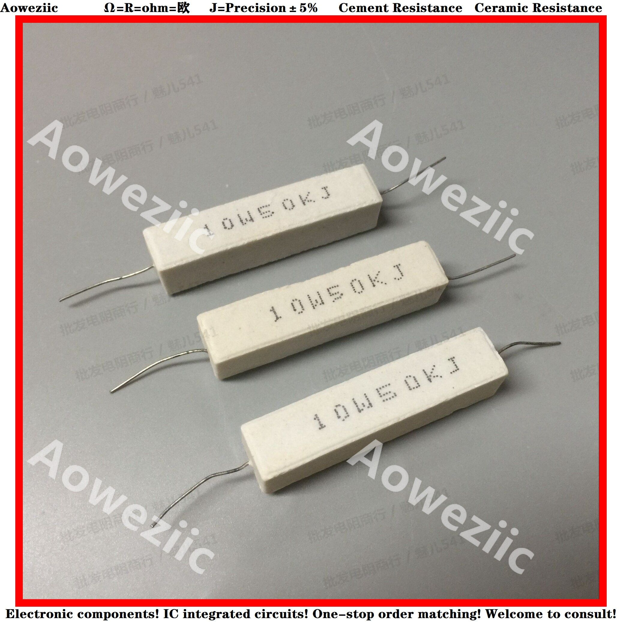 10pcs Rx27 Horizontal Cement Resistor 10w 50k Ohm 10w50kj 10w50k 50000 Ohm Ceramic Resistance Precision 5 Power Resistance Ohms Place Card Holders Resistors