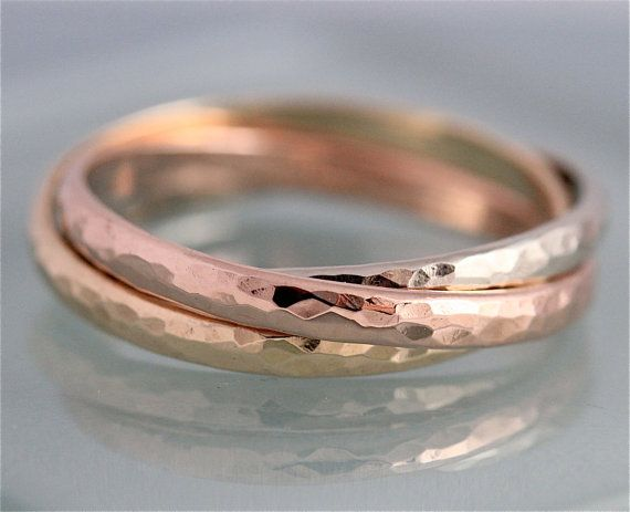 211fb16cd1cf5 Rolling Russian Wedding Band Tri Color 14k Solid Gold Trinity Ring ...