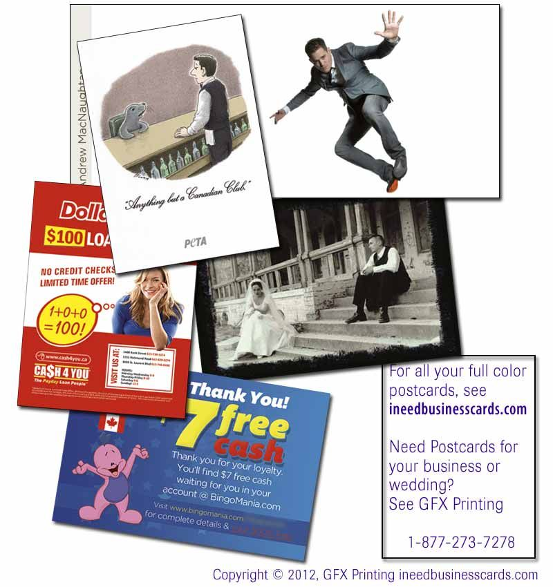 More postcard examples we've printed, from Michael Buble, PETA, wedding photographer Mike Nowak, Cash4You and BingoMania