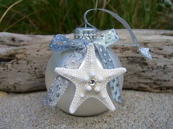 Starfish Christmas Ornament-WHITE CHRISTMAS-Beach Christmas Decor - coastal christmas decorations