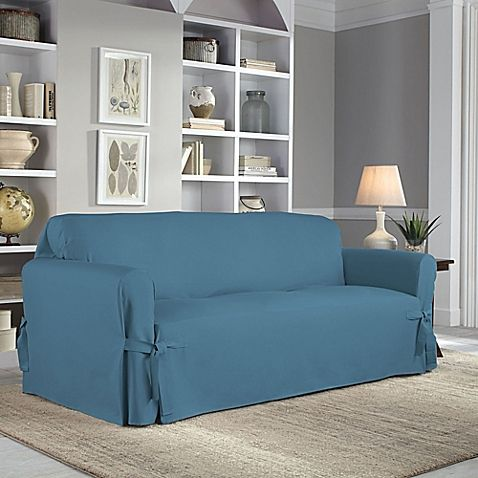 Perfect Fit Clic Relaxed Sofa Slipcover In Vintage Blue
