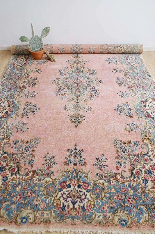 Groot Handgeknoopt Perzisch Tapijt Roze Vintage Kleed Kirman Kerman