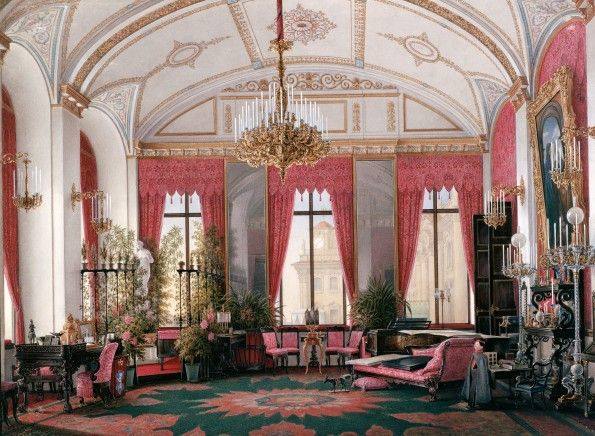 Hau, Edward Petrovich - Interiors of the Winter Palace. The Raspberry Study of Empress Maria Alexandrovna