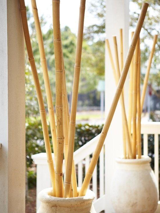 Ideen für Bambusstangen Deko kübel stein veranda Gartenideen - bambus im wohnzimmer