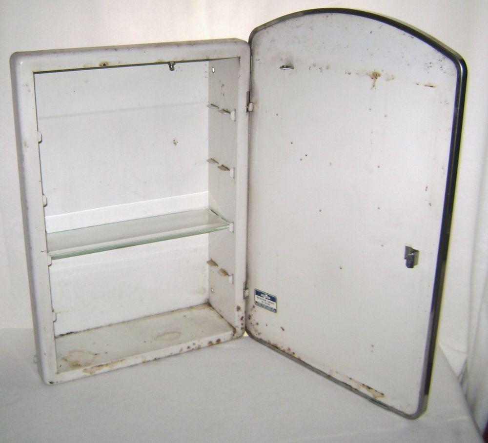 Vintage Homart Metal Bathroom Cabinet Etched Mirror Door Glass Shelf