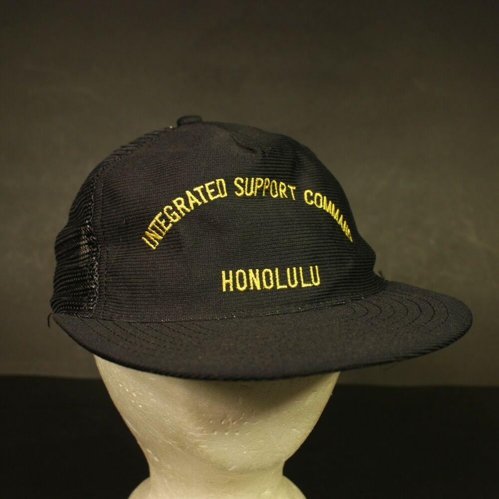 Vintage Integrated Support Command Trucker Hat Cap Mesh Snapback Honolulu Retro Hat Trucker Snapback Trucker Hat Retro