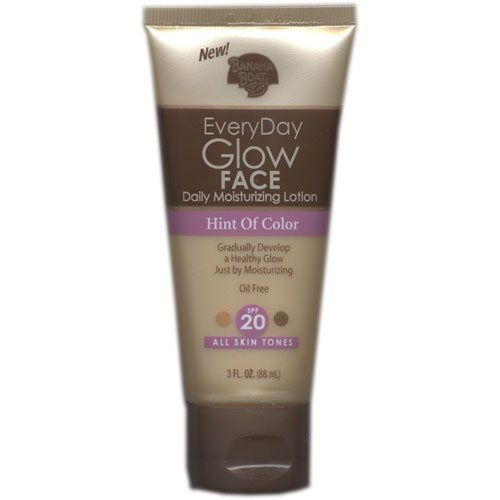 Banana Boat Everyday Glow Face Daily Moisturizing Lotion, Hint of Color, All Skin Tones, SPF 20, 3 Oz. by Banana Boat. $8.11. Gradually build a healthy glow. Banana Boat EveryDay Glow Face Daily Moisturizer SPF 20 uses self-activating tanners to enhance your skins natural tone. Simply moisturize every day for a hint of radiant color. Banana Boat EveryDay Glow Face Daily Moisturizer SPF 20 Lightweight, daily moisturizer lotion. Oil-free. Includes vitamins A, C ...