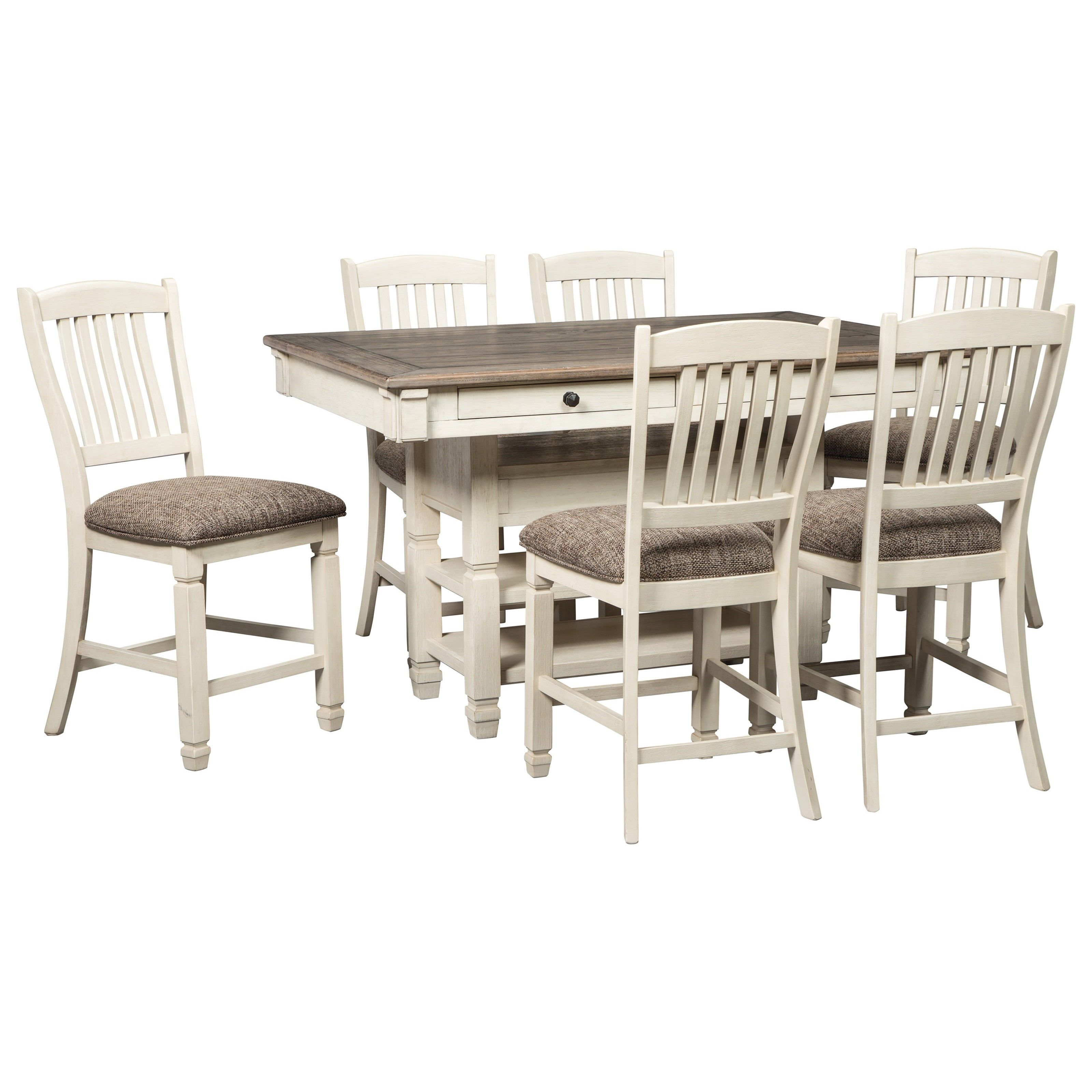 Bolanburg Relaxed Vintage 7 Piece Counter Table With Wine Storage