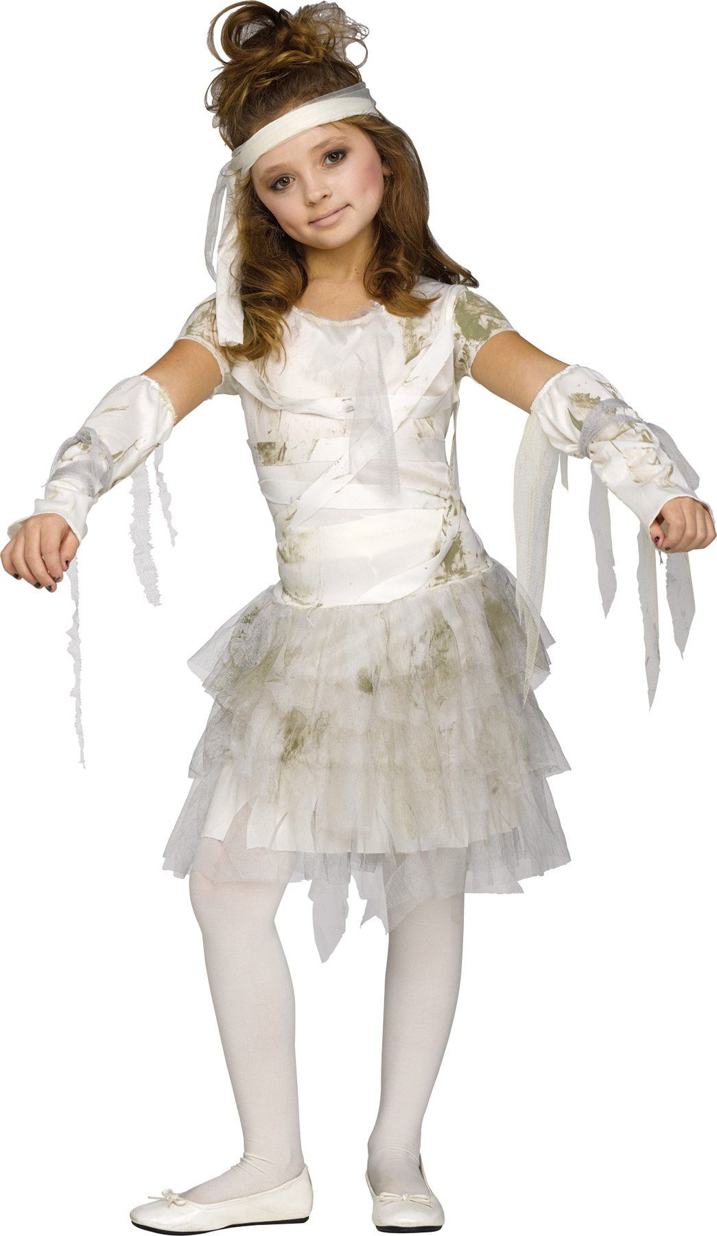 UHC Girls Mummy Outfit Scary Theme Fancy Dress Child