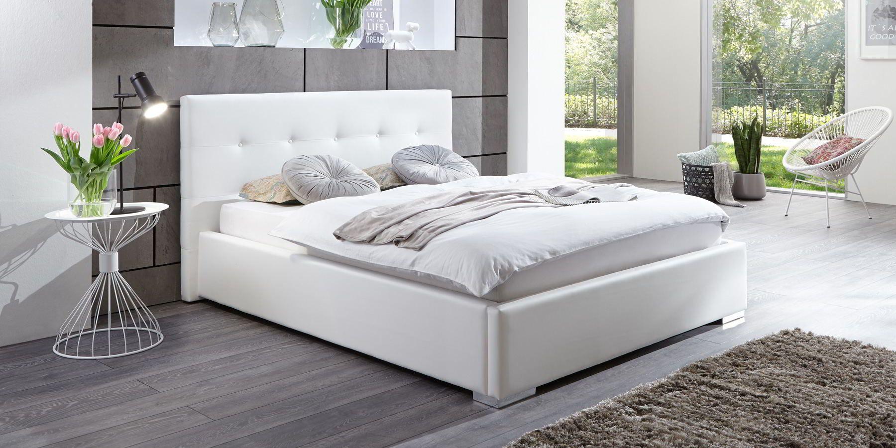 Bett Mit Bettkasten Betty 180x200 Weiß Polsterbett Mit
